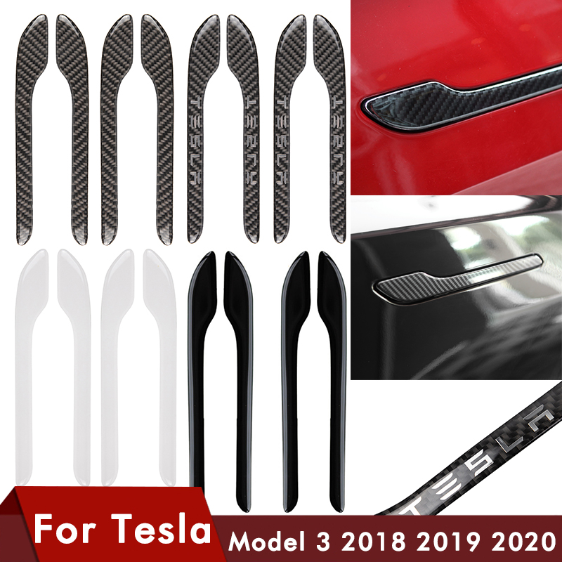 4PCS For Tesla Model 3 Door Handle Protector Sticker Door Handle Wrap Cover For Tesla Model Y Accessories Carbon Model3 ModelY