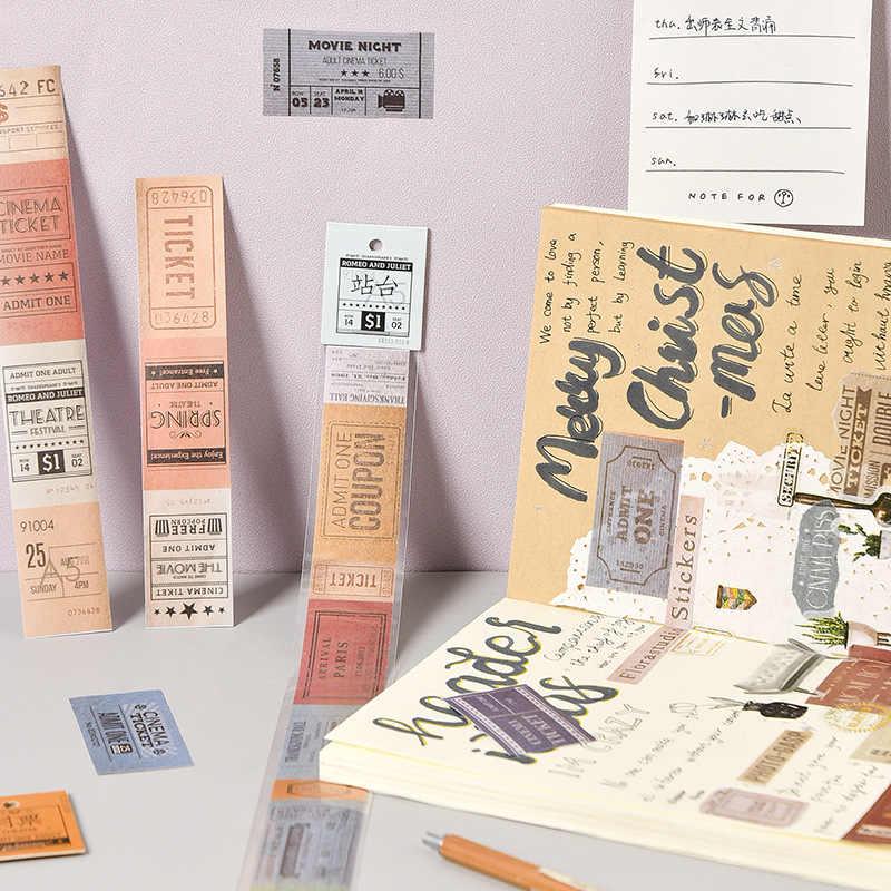 1 Pcs Perjalanan Perangko Washi Tape Vintage Tiket DIY Dekoratif Scrapbooking Masking Tape Perekat Washi Tape Set Label Stiker