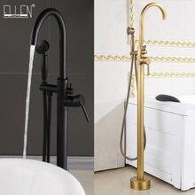 Antique Black Bronze Floor Stand Bathtub Faucets with Hand Shower Floor Standing Bath Faucet Single Handle Mixer Tap ELS2006
