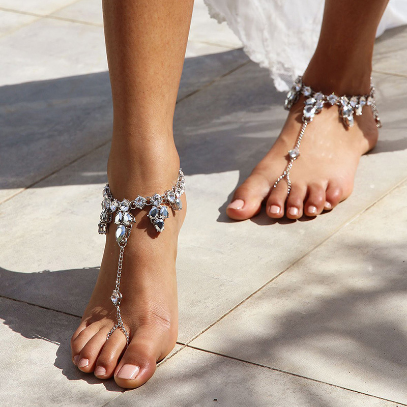 1Pcs Crystal Water Drop Rhinestone Anklet Barefoot Sandal Foot Chain Toe Ring Beach Ankle Women Jewelry