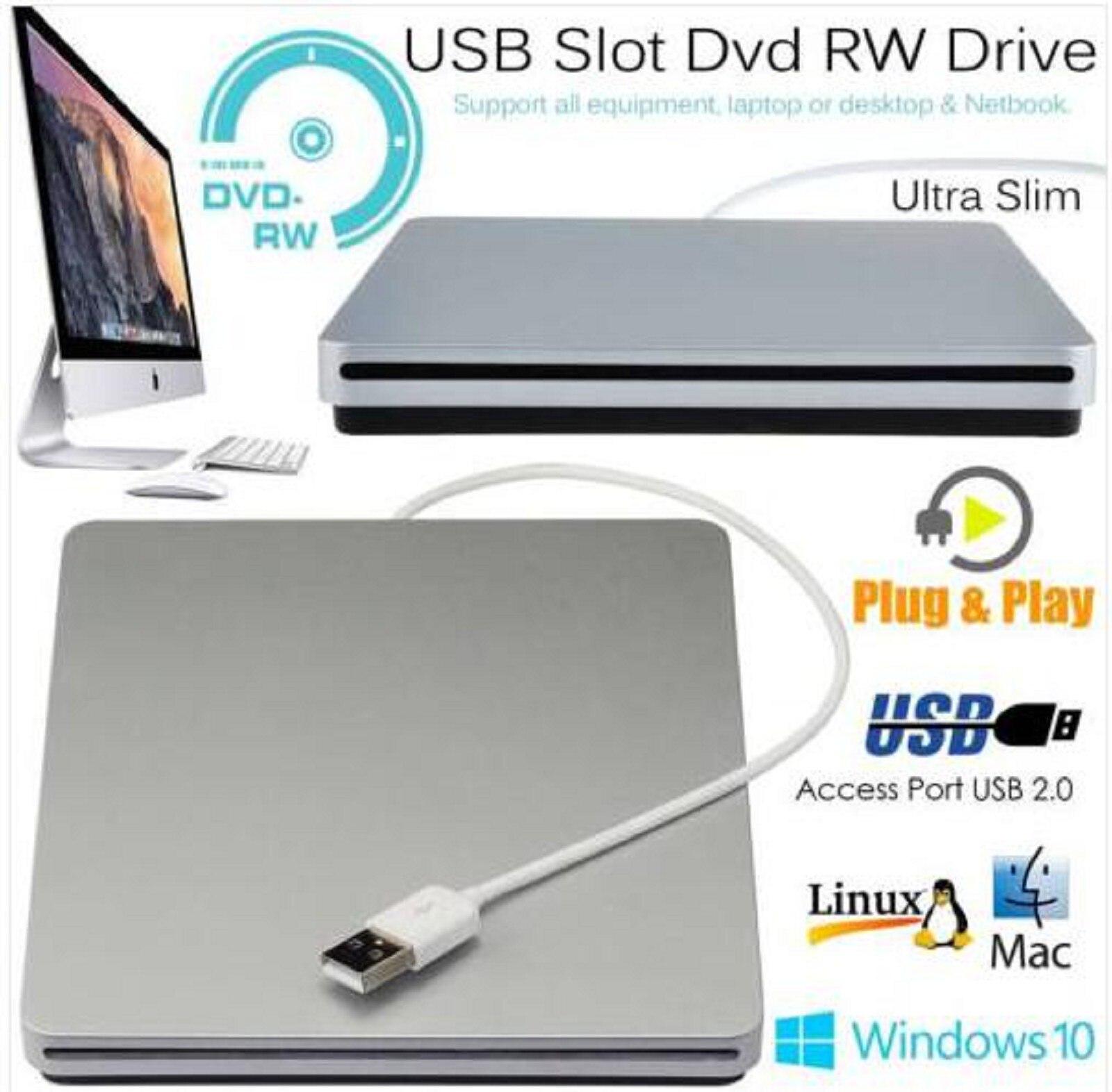 USB2.0 Slim External  DVD Drive CD Writer Burner Disk Reader Player DVD ROM Optical Drive For Mac OS/WindowsME/2000/XP/Vista/7
