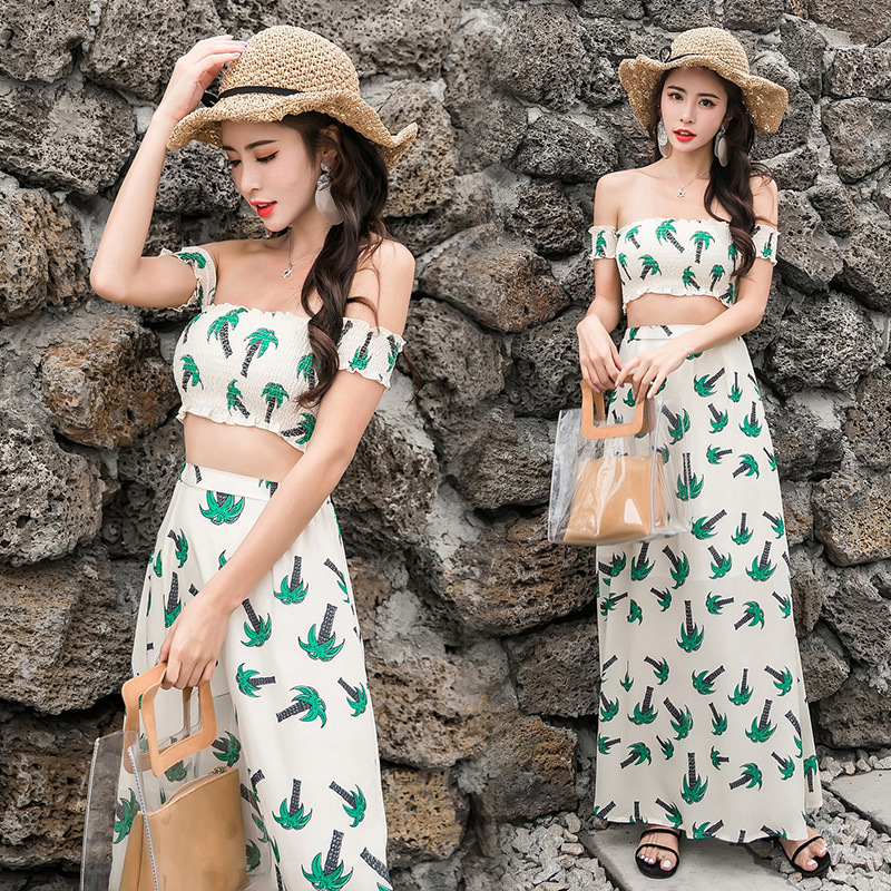 Set 2018 Summer New Products Korean-style Horizontal Neck Tops + Chiffon Fashion WOMEN'S Dress Two-Piece Set