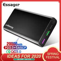 Essager 20000 mAh batterie externe USB C PD Charge rapide 3.0 5A Powerbank pour Xiaomi iPhone 20000 mAh chargeur de batterie externe Portable