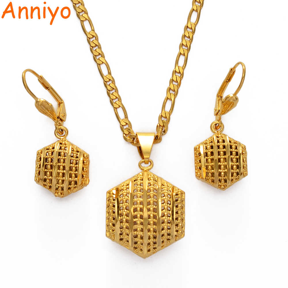 Anniyo Afrikanische Hochzeit Schmuck set Anhänger Halsketten Ohrringe für Frauen Dubai Gold Farbe Nigeria Party Geschenke #006616
