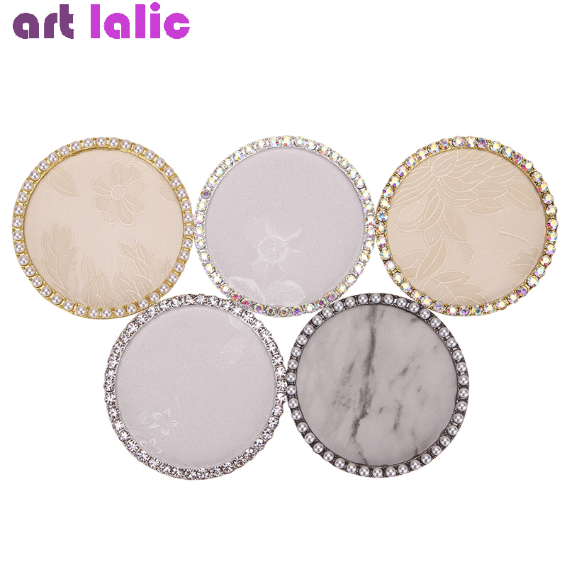 1pc Round Embroidered False Nail Art Plate Tips Marble Rhinestones Pearl Practice Display Showing Stand Board Palette Nail Tools