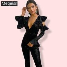 MEQEISS שחור נצנצים סרבל נשים ארוך שרוול הנוצץ Bodycon סרבלים סקסי Rompers גליטר מועדון המפלגה סרבלי סרבל