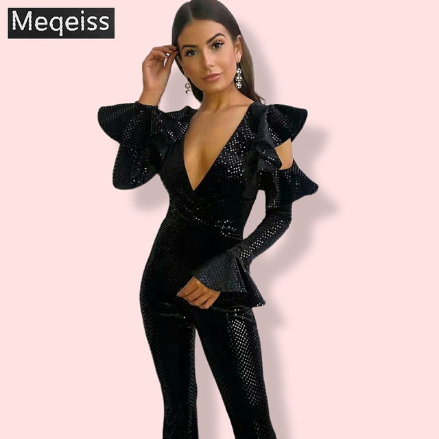 Женский комбинезон с блестками MEQEISS, черный облегающий комбинезон с длинным рукавом, Клубные вечерние комбинезоны с блестками
