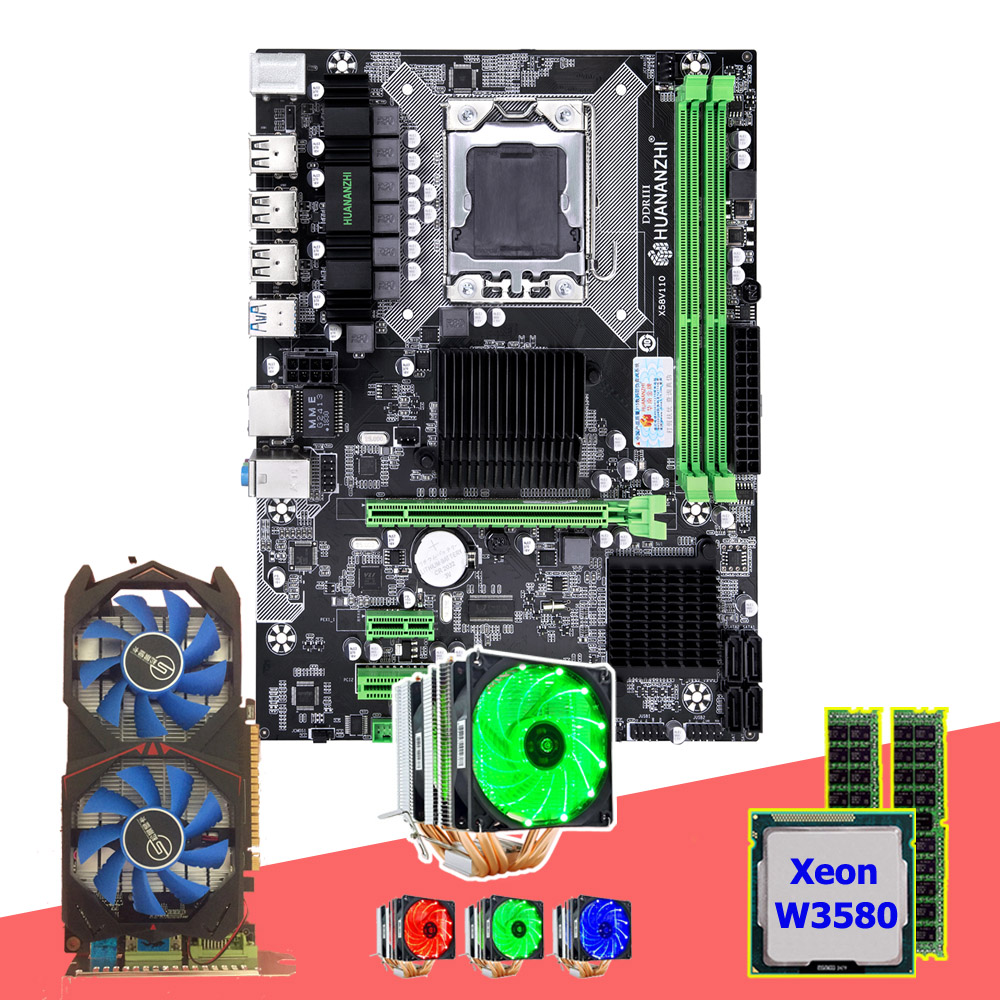 HUANANZHI X58 Pro LGA1366 motherboard with CPU Xeon W3580 3.33GHz 6 heatpipes cooler RAM 16G(2*8G) GPU <font><b>GTX750TI</b></font> 2G video card image