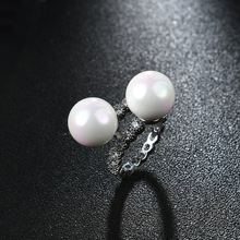 NJFine Round Rings  Silver ring natural pearl multi color Jewelry Adjustable zirconia For Women