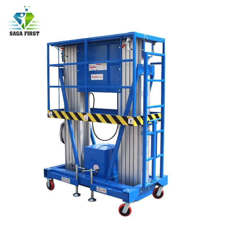 China Manufacturer 250kg Vertical Hydraulic Platform Double Mast Aluminum Alloy  Working Platform