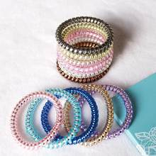 1pc Korea Simple Fine Phone Line Hair Ring Bracelet Rubber Band Hair Bows Rope Accessories For Women Fashion Scrunchie Headwear(China)