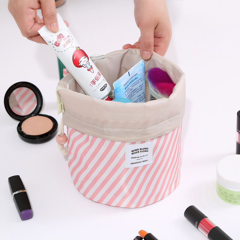 Yeqofcd Women Oxford Travel Makeup Bags Toiletries Organizer Cylinder Cosmetic Bag Pouch Pull Rope Female Make Up Cases in Cosmetic Bags Cases from Luggage Bags
