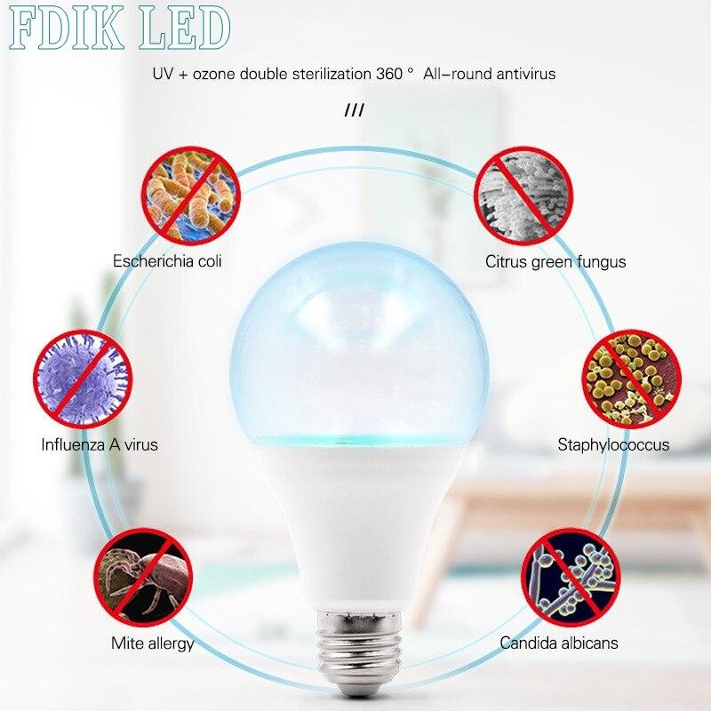 LED Germicidal Light UVC Lamp Sterilizer E27 5W 7W LED UV Desinfection Lamp LED Ultraviolet Light Bulb Amuchina 110V  220V
