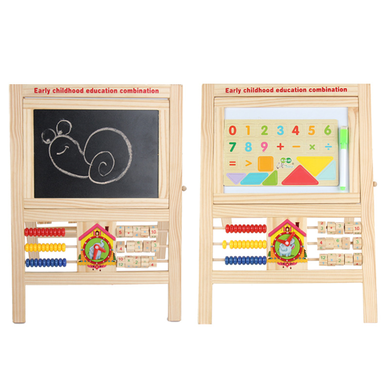 CHILDREN'S Wooden Toy Early Education Combination Drawing Board CHILDREN'S Cartoon Clock Zhu Suan Jia Toy Blackboard Manufacture