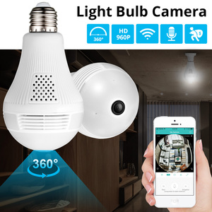 Image 2 - FUERS WIFI IP מצלמה HD960P בית אבטחת פנורמי הנורה מקורה מצלמה 360 תואר Led אור מנורת Motion זיהוי מעקב