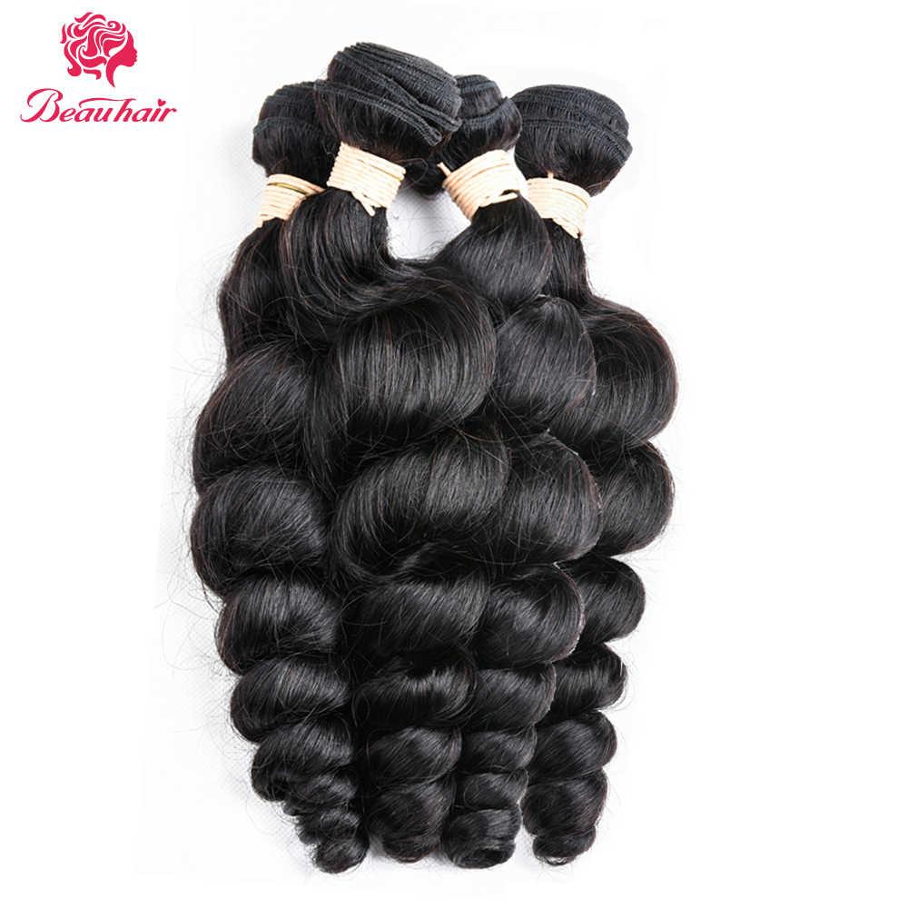 Paquetes de tejido de pelo brasileño Beauhair con cierre cabello humano no Remy 4 paquetes con cierre paquetes de onda suelta con frontal