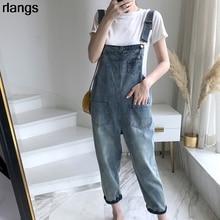 Denim Overalls Jeans Korean Monster Spring Summer Women's Cute Net Student Loose XS-2XL