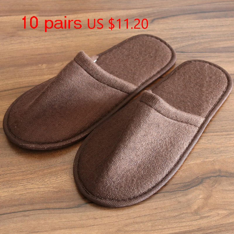 10 Pairs Travel Slippers Hotel Disposable Guest Slippers SPA Slipper Shoes Comfortable
