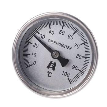 Stainless Steel Bi-metallic Thermometer 1/4PT Thread L=100mm 0~50~300℃ WSS-303 R9JF