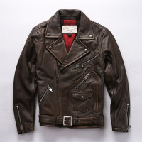 AH1956 Read Description! Asian size genuine cow skin leather jacket mens cowhide casual vintage biker leather jacket