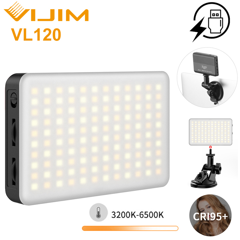 Ulanzi Vijim VL120 3200K-6500K LED Video light with Softbox and RGB Color Filters light for video Conference Lighting Fill Light