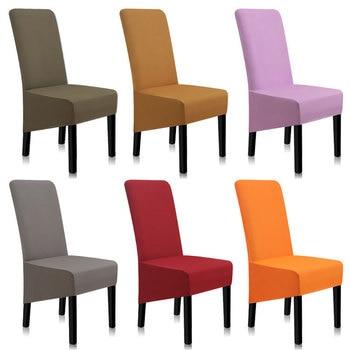 Fundas de LICRA para silla, fundas de sillas de comedor de Color sólido, cubierta de silla elástica Anti-suciedad, para cocina A45008