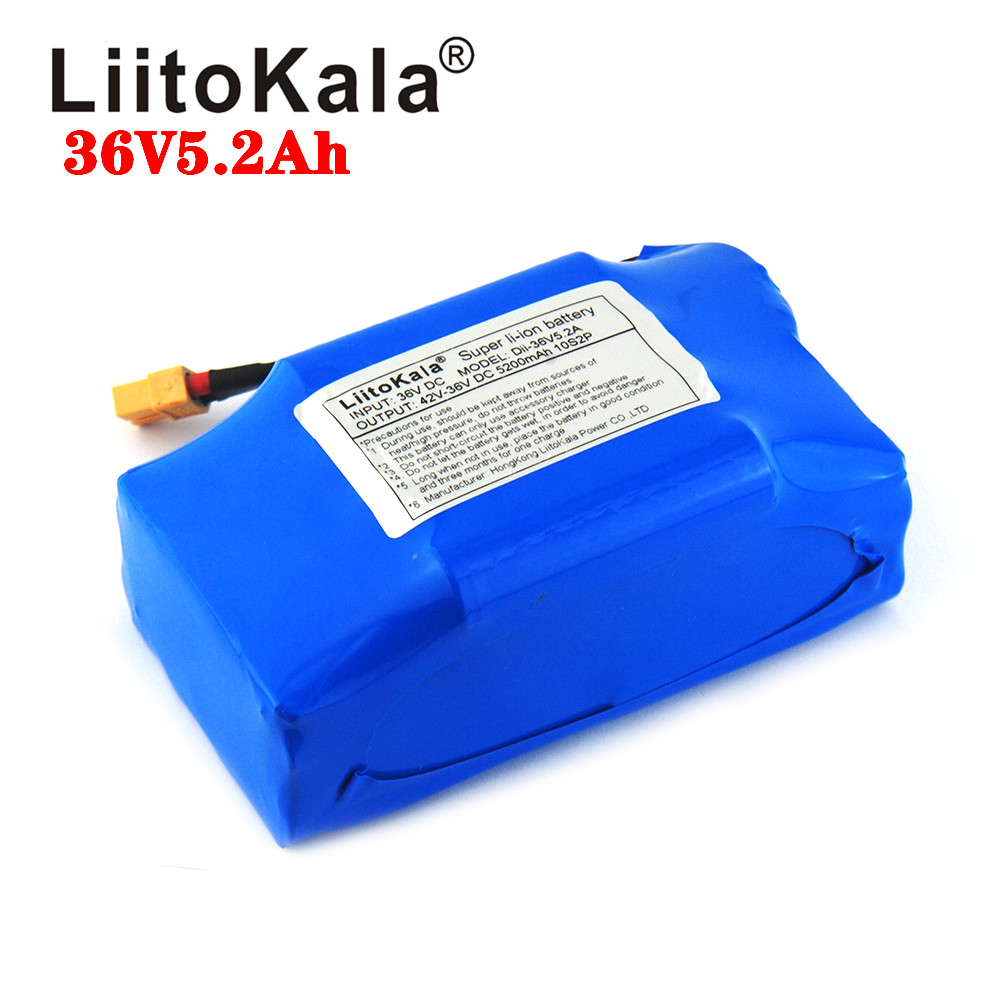 LiitoKala 36V 5.2AH 4.4AH Rechargeable Li-ion Battery Pack Lithium Ion For Electric Self Balance Scooter Hoverboard Unicycle