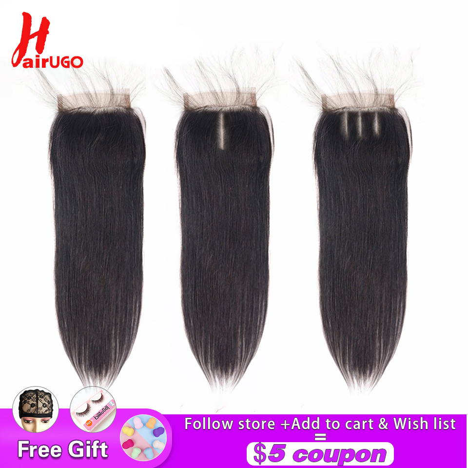 HairUGo Brazilian Straight Hair Closures 4X4 Lace Closure 8''-22'' 100% Human Hair With Baby Hair Non-Remy Hair Extensions