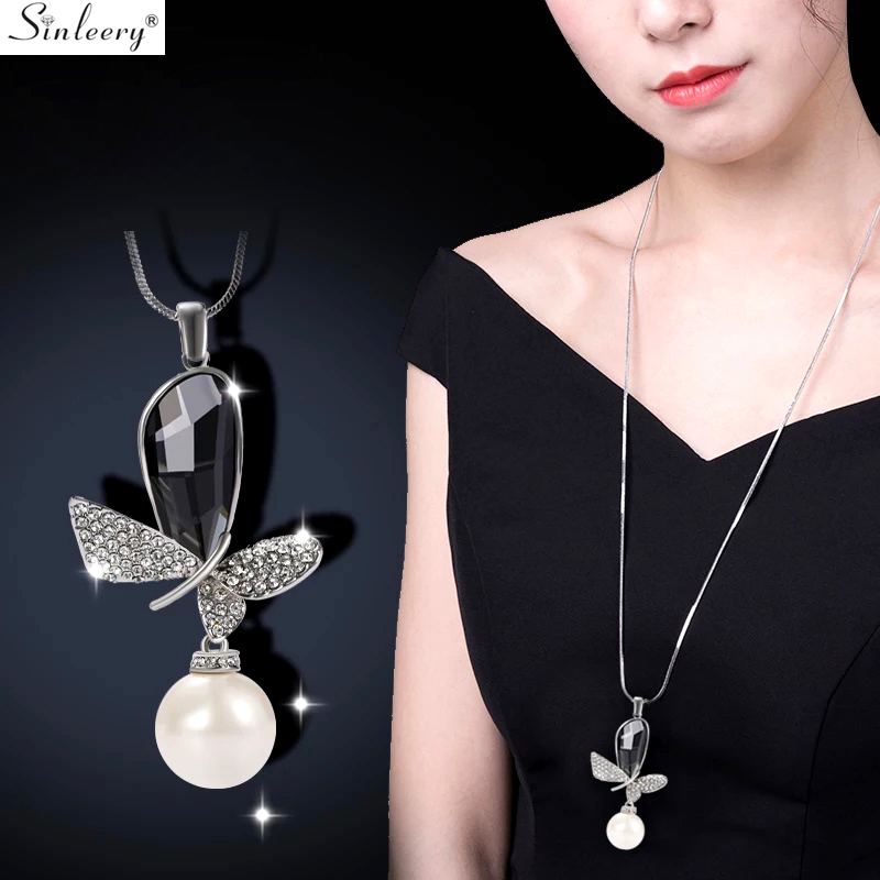 Shining Butterfly Tiny Crystal 2 Colors Charm Pendant Necklace Fashion Jewelry