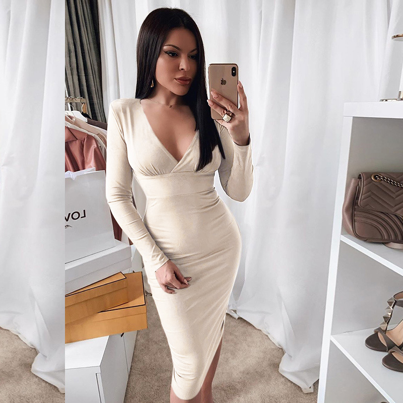Toplook Suede V-Neck Long Sleeve Dress Women Knee-Length High Waist Bodycon Dresses Skinny Elastic Autumn Solid Elegant Party