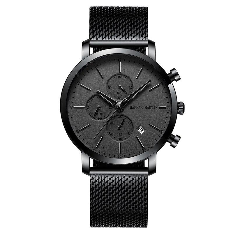 Business Men Watch Wrist 2019 Luxury Brand Black Stainless Steel Watch Men Quartz Calendar Display Second Dial Reloj Hombre