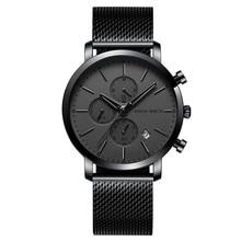 Business Men Watch Wrist 2019 Luxury Brand Black Stainless Steel Watch Men Quartz Calendar Display Second Dial Reloj Hombre цена 2017