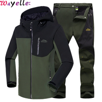 Men Winter Waterproof Fishing Outdoor Suits Skiing Warm Softshell Fleece Hiking Trekking Camping Jacket + Men Pants Sets 5XL
