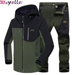 Men Winter Waterproof Fishing Outdoor Suits Skiing Warm Softshell Fleece Hiking Trekking Camping Jacket + Men Pants Sets 5XL