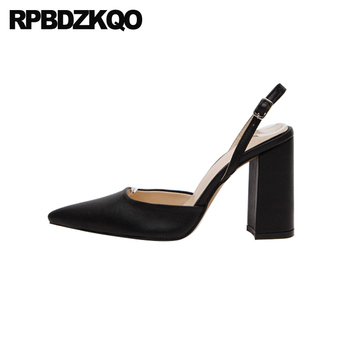 black size 4 34 pointed toe suede designer chunky pumps slingback thick dress shoes women high heels block 2019 female ladies