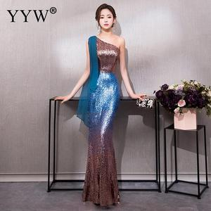 Image 3 - Luxury Gradient Sequined Mermaid Dress Sexy V Neck Prom Dress Women Fashion Formal Party Gowns Zipper Back Trumpet Evening Dress