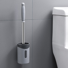 Silicone Toilet Brush With Holder Set Plastic Soft Bristle Bowl Wall-mounted Or Floor-Standing Cleaning Tool