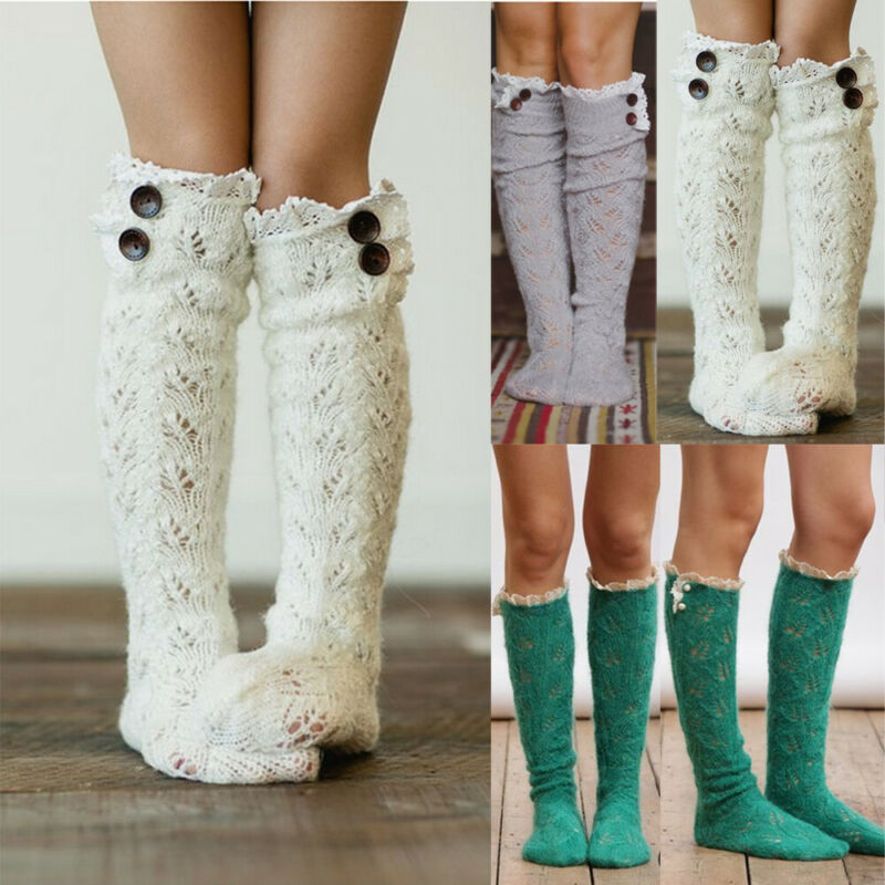Women Autumn Winter Warm Socks Girls Cute Cable Knitted Over Knee Thigh High Long Boot Socks Ladies Fashion Solid Color