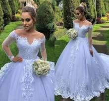 Женское свадебное платье с длинным рукавом длинное ТРАПЕЦИЕВИДНОЕ