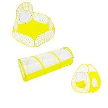 3 in 1 Kind Spielhaus Ball Pool Rohr Bunte Regen Themen Indoor Spielzeug Gelb