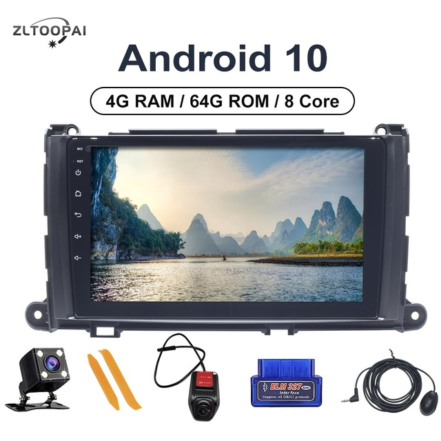 "8 Core 4GB RAM+64GB ROM Car Player Multimedia 9"" DVD Player For Toyota Sienna 2009 2014 Auto Radio Navigation Head Unit Android"
