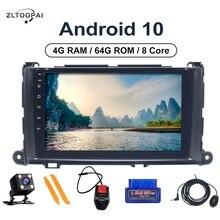 """8 çekirdek 4GB RAM + 64GB ROM araba oyuncu multimedya 9 """"DVD OYNATICI Toyota Sienna 2009 için 2014 otomobil radyosu navigasyon kafa ünitesi Android"""