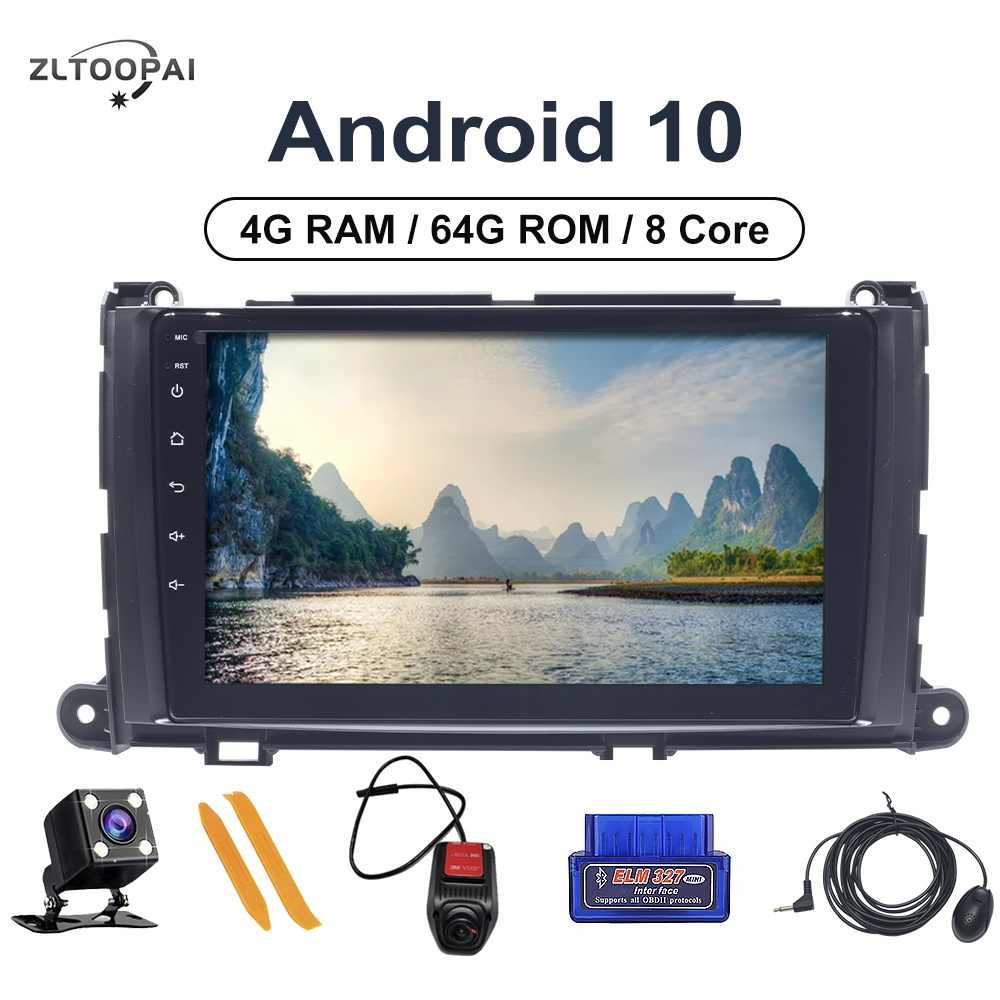 """8 çekirdek 4GB RAM + 64GB ROM araba oyuncu multimedya 9 """"DVD OYNATICI Toyota Sienna 2009 için-2014 otomobil radyosu navigasyon kafa ünitesi Android"""