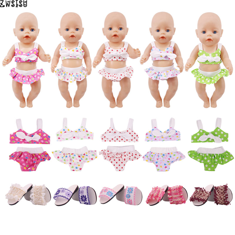 Doll Clothes 5 Styles 1 Set/2Pcs With Free Bowknot Swimsuits 18 Inch American Doll & 43 Cm Baby Doll For Generation Girl`s Toy