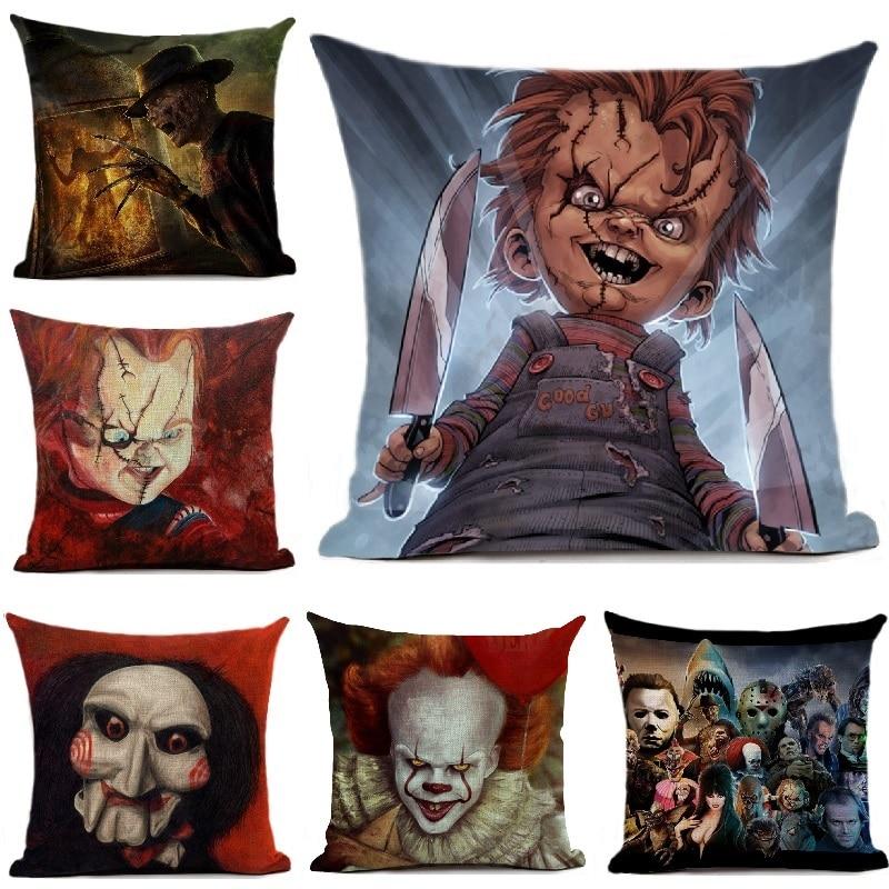 Chucky Cushion Cover Halloween Home Decoration Horror Movie Clown Printed Linen Throw Pillows Car Sofa Decorative Pillow Case