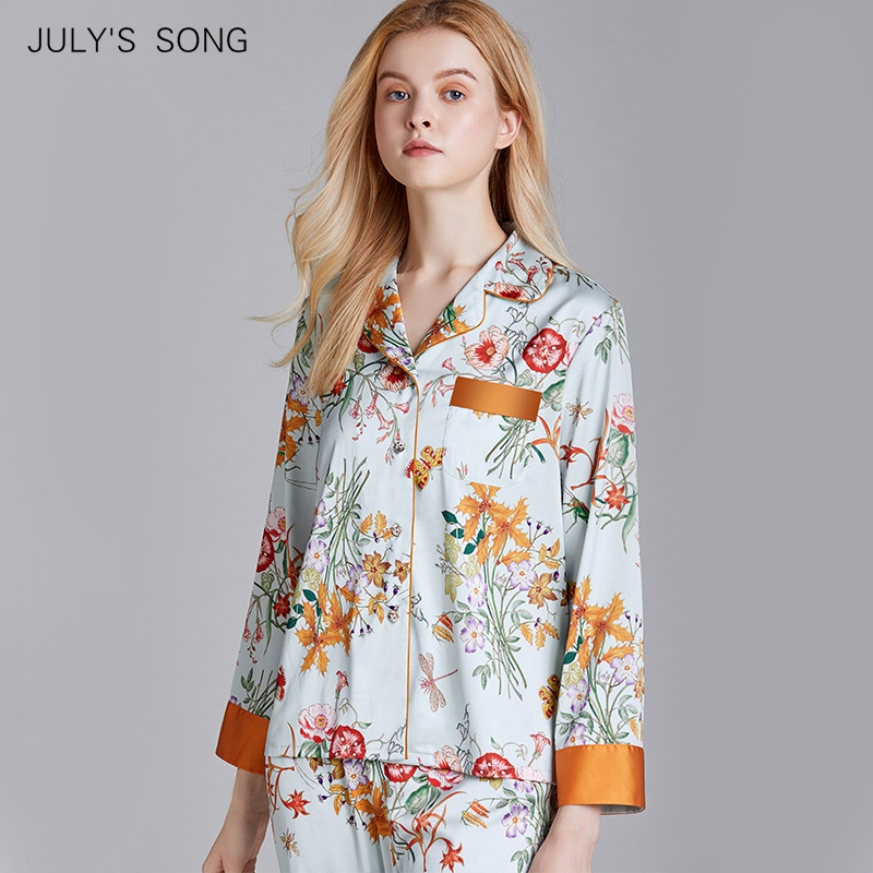 JULY'S SONG Faux Silk Satin Pajamas Set 2 Piece Women Spring Flower Plant Printing Long Sleeve Sleepwear Pajamas Suit Home Wear