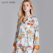 JULYS SONG Faux Silk Satin Pyjamas Set 2 Stück Frauen Frühling Blume Pflanze Druck Langarm Nachtwäsche Pyjamas Anzug Hause tragen