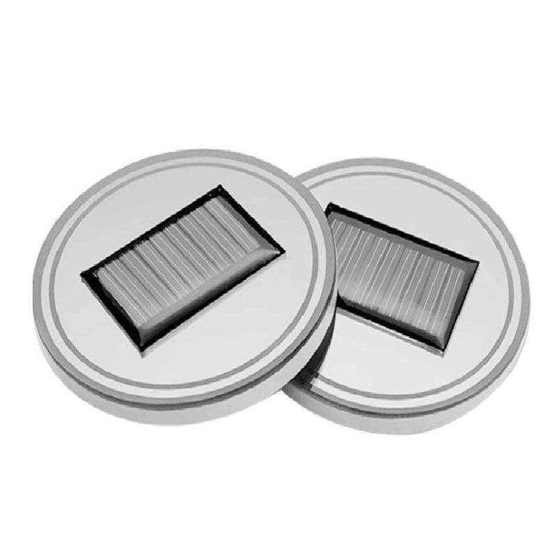 2 PCS Solar Cup Pad Non-slip Car Accessories LED Light Cover Interior Decoration WWO66