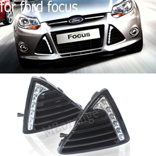 цена на LED Daytime Running Light For Ford Focus 3 MK3 2012~2015 DRL Fog Lamp Cover With Yellow Turning Signal Functions