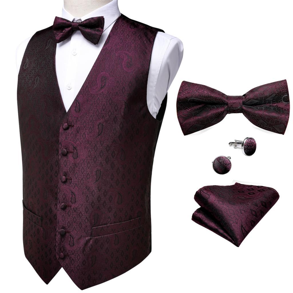 Men's Party Wedding Bowtie Wine Red Silk Vest Pocket Square Cufflinks Set Barry.Wang Classic Paisley Waistcoat Vest Suit DiBanGu